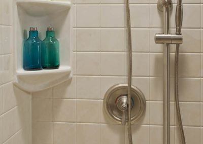 Built-in shelf rectangular caddy and hand-held shower
