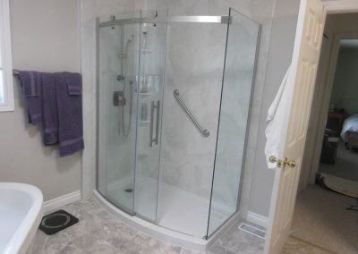 Custom Shaped Shower with Sliding Glass Door