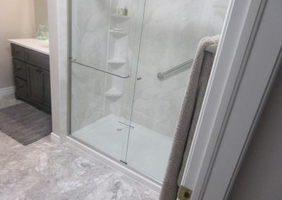 White Shower with Gray Accents