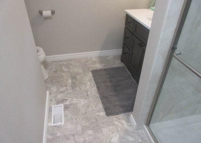 Marble Floor and Black Vanity