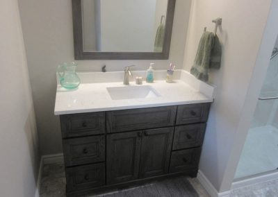 White Sink and Black Vanity