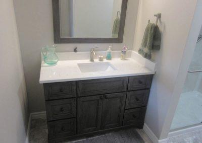 White Sink and Black Vanity