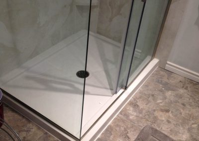 Corner Shower with Glass Sliding Door