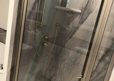 Gray Marble Shower with Silver Showerhead2
