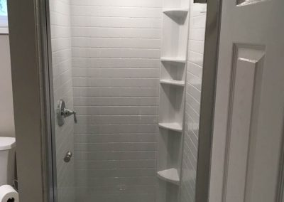 Stand-Up Shower with White Tile