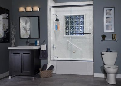 Classic tub with Silver White Sliding Door Window Kit and Chrome