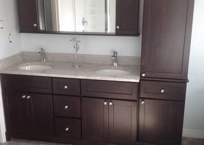 Double Sink Brown Vanity