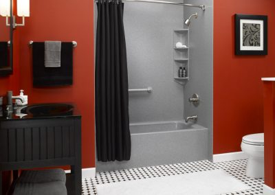 Red Bathroom with Gray Tub