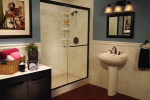 Almond Shower Base Almond White Windmill Tile and Wainscoting Oil Rubbed Bronze