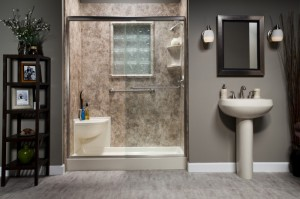 Biscuit Shower Base Corner Seat with River Rock Smooth Walls