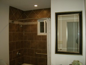 brown ceramic tile wall surround